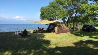 肋骨の痛みに耐えながらキャンプ(六ツ矢崎浜オートキャンプ場)